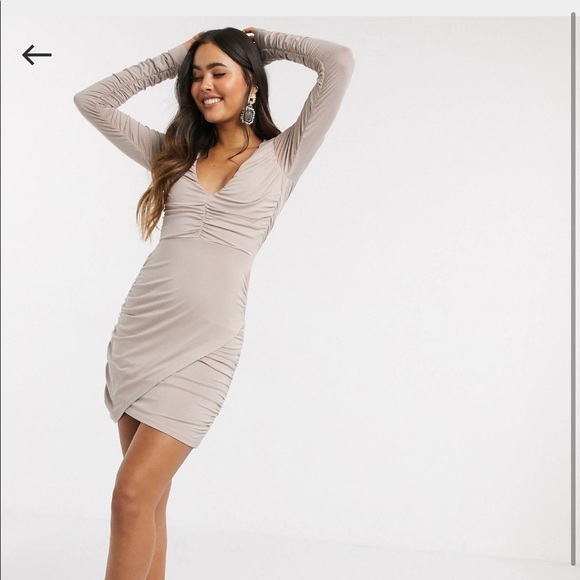 new ASOS plunge long sleeve mini dress